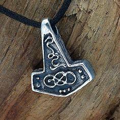 925 Sterling Silber, Thorshammer, Mjölnir, Ketten-Anhänger, Larp,Kelten,Wikinger