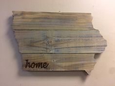 """Iowa State Shape Rustic Wood Sign Hanger 22"""" x 14 1/2""""  Add a Rusty Star or Personalize Cutout for Wedding Guestbook by CustomDecorAndGifts on Etsy"""