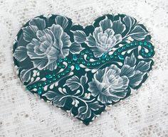 Hand Painted Dark Teal MUD Roses Cookie with Rhinestone Bling 13. $30.00, via Etsy.