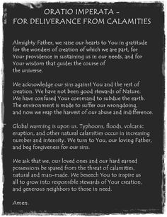 Oratio Imperata - For deliverance from calamities Prayer For Rain, Faith Prayer, Beautiful Prayers, Photo Quotes, Roman Catholic, Peace And Love, Gratitude, Inspirational Quotes, Wisdom