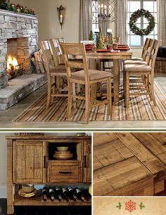Warm and rustic wood tones for holiday dining!