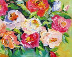 Teal florero bodegones originales pintura arte de lienzo 16 x 20 arte de Elaine Cory