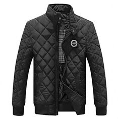 Casual Quilted Jacket Men Warm Black Brand Outwear Hombre Mens Jackets Coat Stand Collar Slim Clothes