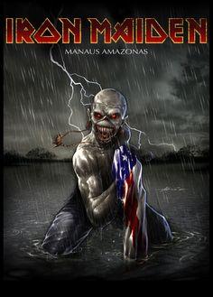 Iron Maiden Manaus AM by abraaolucas on DeviantArt Heavy Metal Bands, Heavy Metal Rock, Heavy Metal Music, Iron Maiden Band, Iron Maiden Cover, Eddie Iron Maiden, Rock Posters, Band Posters, Iron Maiden Mascot