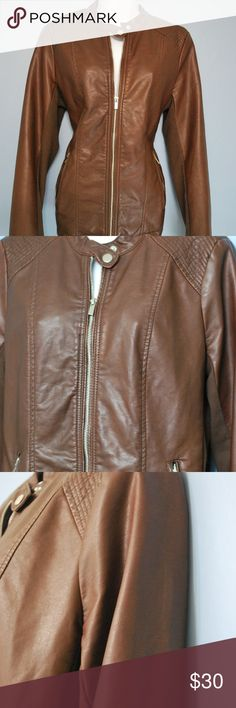 Womens Leather Jacket ANA color Tan size M Moto fa A.N.A. Leather JACKET Women color Brown size M faux leather zip up pattern  NO DEFECTS  There is fabric sewn on the sides & inner side of the sleeves which makes it comfortable fitting  We try to describe the product true to its condition. However, personal opinions about the product condition may vary. Please message us with any questions before bidding/buying a.n.a Jackets & Coats