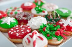 Christmas Donuts from Jelly modern doughnuts Canada's original gourmet doughnut bakery café. Christmas Donuts, Christmas Mood, Merry Little Christmas, Christmas Goodies, Christmas Treats, Christmas Baking, Christmas Deserts, Christmas Things, Holiday Baking
