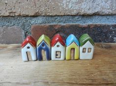 Ceramic Miniature Houses Set of 5 miniature clay by potteryhearts