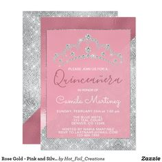 Quinceanera celebration pink masquerade party invitation just pink rose gold pink and silver sparkle quinceanera invitation rose gold pink and silver sparkle stopboris Images
