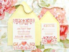 Custom, Stencil Folk Art Wedding Invitations featuring a Dutch-inspired illustration of birds, hearts and flowers in warm red-orange watercolor hues.  ~ by Merrymint Designs