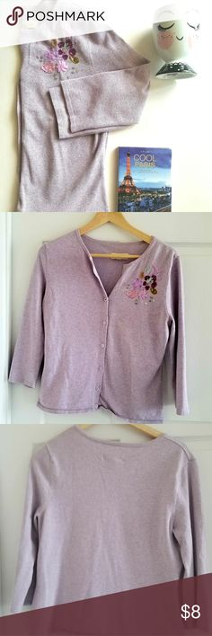 """Linden Hill Purple Embellished Cardigan - Sz M Linden Hill Light Purple Embellished Cardigan - Sz M. Missing top 2 buttons but I never buttoned it up all the way so I just cut the threads off (pic 5). Approx measurements - bust 15 1/2"""", arm 17 1/2"""". Very cute! Tops"""