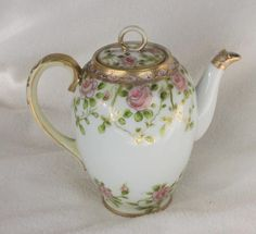 Nippon Hand Painted Small Tea Pot Florals with Gold