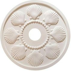 Marie Ricci Collection MRC Collection 18 in. x 18 in. x 1/2 in. Seashell Lightweight Resin Primed White Ceiling Medallion-MRCSEASHELL-18 - The Home Depot