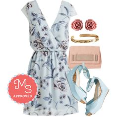 In this outfit: Lyricist's Lullaby Dress, Retro Rosie Earrings, Boundless Love Bracelet, Stylista Sighting Bag, Sweetheart and Sole Wedge #pastel #cute #summer #outfits #wedges #dresses #floral #chic #romantic #ModCloth #ModStylist #fashion