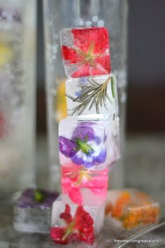 Edible flowers and herbs embedded in ice make a pretty accent for summer drinks!