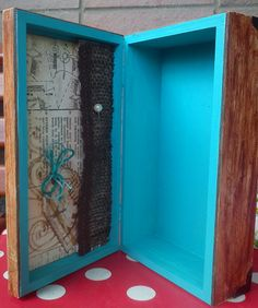 5.wooden box, decorated with scrapbook paper, acrylic paints and metal ornaments