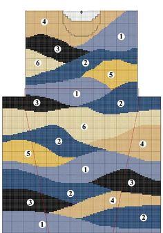 Wave intarsia sweater pattern More