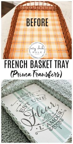 French Basket Tray (thrifty makeover with Prima Transfers) This old, dated thrift store find got a brand new look.and life! French basket tray with grain sack stripes and a Prima Design Transfer! Dollar Store Christmas, Dollar Store Crafts, Dollar Stores, Christmas Crafts, Thrift Store Art, Thrift Store Finds, Thrift Stores, Shabby, French Baskets