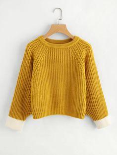 #ROMWE - #ROMWE Contrast Trim Textured Knit Sweater - AdoreWe.com