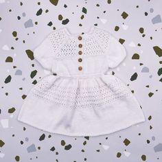 Flower girl knit dress PANDORA handknitted of Van Beren Organic Cotton Yarn for precious flower girls
