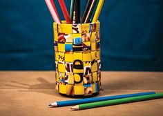 This basket/pen holder is made from recycled materials.  This is really cool! Imagine the possibilities...