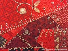Red Crazy Quilt Square [detail] by Sarah Aldrich via Mary Corbet