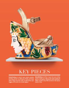 Dolce & Gabbana: the Moor's head, that iconic Sicilian ceramic, outlines the wedge  of this sandal making the designers immediately recognizable. Suede laminated in shades of gold to travel the world over the summer months to come. #dolcegabbana #moor #sicilianceramic #ceramic #sandal #suade #gold #summer #shoes @Dolce & Gabbana