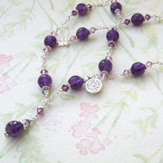 Purple Amethyst Necklace, Sterling Silver, Gemstone, Handmade Jewelry, February Birthday, Lilac. $98.00, via Etsy.