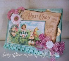 Pretty Easter Card using  Crafty Secrets Easter Postcard Set - by Kathy by Design who shows many photos