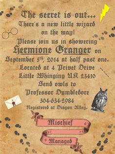 Harry Potter Baby Shower Personalized Printable Set