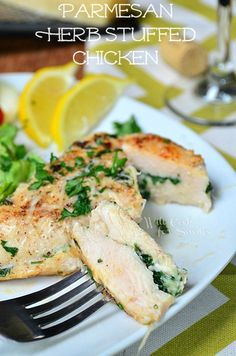 Parmesan and Herb Stuffed Chicken | from willcookforsmiles.com | #chicken #dinner