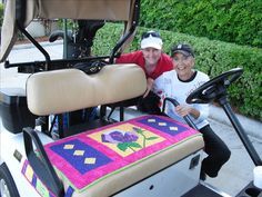 custom golf cart seat covers made by friends--these are awesome!