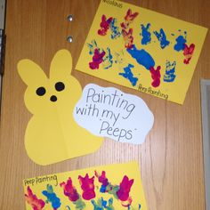 We painted with peeps. The kids used the candy peeps much like you would use a sponge to stamp paint. This was another really cool activity. Daycare Crafts, Classroom Crafts, Toddler Crafts, Toddler Activities, Classroom Ideas, April Preschool, Preschool Activities, Easter Projects, Easter Crafts