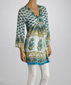 This Turquoise & Green Abstract Floral V-Neck Tunic is perfect! #zulilyfinds