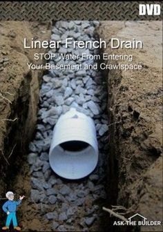 A trench drain will help move water away from your house and yard. This trench drainage system, also known as a French drain, intercepts water before it reaches your house. The drain acts like an underground gutter, keeping your basement dry. Backyard Drainage, Landscape Drainage, Backyard Landscaping, Gutter Drainage, Landscaping Ideas, Patio Drainage Ideas, Backyard Projects, Outdoor Projects, Drain Français