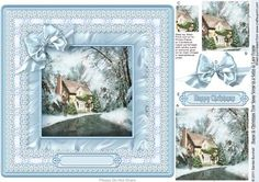 House Christmas Tree Snow Scene Satin Lace Frame Pyramag on Craftsuprint designed by Sandie Burchell - Beautiful House