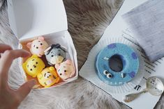 Miniature sum tsum chiffon cakes by Agnes iing ( Sweet Cakes, Cute Cakes, Cartoon Recipe, Japan Cake, Egg Cake, Tsumtsum, Cake Craft, Dessert Decoration, Chiffon Cake