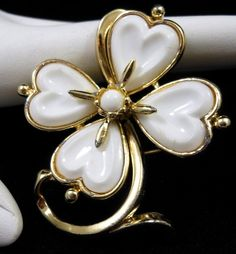 Vintage CORO White Milk Glass 4-Leaf Clover Shamrock Brooch Pin CA 1950's $34.00 SOLD