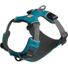 The Ruffwear Front Range Harness is an everyday harness that is easy to fit and put on, and comfortable for dogs to wear. The harness features two leash attachment points: an aluminum V-ring centered on the dog's back for everyday walks, and reinforced we Dog Harness, Dog Leash, Front Range, Dog Store, Pacific Blue, Dog Supplies, Dog Training, Best Dogs, Dog Tags