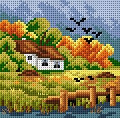 This Pin was discovered by jad Cross Stitch House, Cross Stitch Baby, Cross Stitch Kits, Cross Stitch Designs, Cross Stitch Embroidery, Hand Embroidery, Cross Stitch Patterns, Needlepoint Patterns, Afghan Crochet Patterns