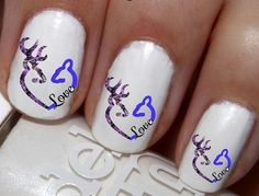 50pc Blue On Purple DBL Buck N Doe Love Heart Nail Decals Nail Art Nail Stickers Best Price NC1460