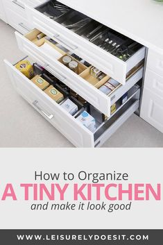 Here are seven genius organizing ideas for deep kitchen drawers and kitchen storage inspiration. Deep Drawer Organization, Storage Drawers, Diy Storage, Kitchen Organization, Kitchen Storage, Organized Kitchen, Storage Ideas, Household Organization, Kitchen Shelves