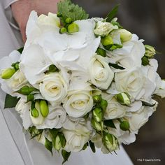 https://flic.kr/p/fQqfmA | Wedding flowers for bride at Hever Castle | A beautiful bouquet of white flowers for a wedding at Hever Castle