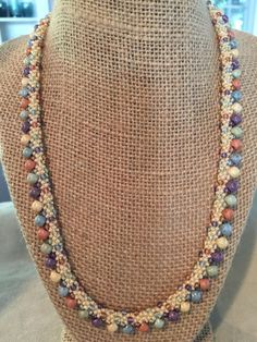 Items similar to Pretty in Pastel Kumihimo Necklace on Etsy Rope Jewelry, Jewelry Crafts, Beaded Jewelry, Handmade Jewelry, Beaded Necklace, Beaded Bracelets, Jewellery, Necklaces, Jewelry Patterns