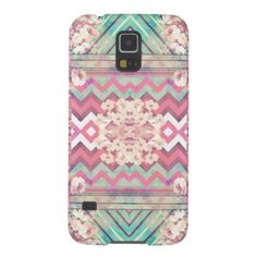 Mod Mirror Pink Turquoise Floral Chevron Stripes Galaxy S5 Cover