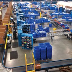 Learn how Monster Bins' conveyor totes are used in warehouses, fulfillment and distribution centers worldwide to improve efficiency and reduce downtime. Plastic Pail, Plastic Containers, Plastic Molds, Storage Bins, Storage Containers, Warehouse Worker, Conveyor System, Warehouse Design, Plastic Moulding