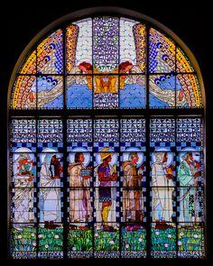 artdecoandartnouveau:  Kirche am Steinhof (also called the Church of St. Leopold) in Vienna - Art Nouveau (Jugendstil) (via 500px / Seven Saints - Stained glass Church window by Mario Traar)