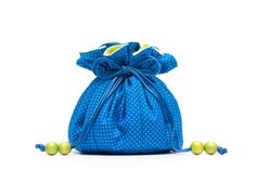 Merlin Blue & Neon Lime Green Jewelry Purse - Drawstring Pouch by Fjokigrop