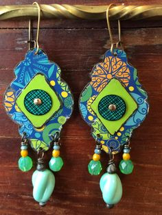 Recycled Tin Earrings, Boho Style, by Emily Hickman, Tin Moon Jewelryworks.