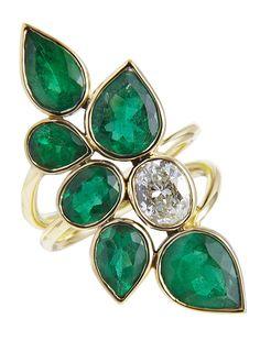 Colombian Dream by Kristin Hanson. 18k gold, Columbian emeralds, oval diamond. 2012