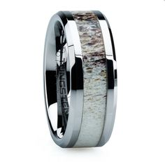 Antler in tungsten! Hubby needs a replacement wedding ring.  He will love it 4 to 6 weeks until his birthday. Perfect!
